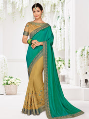 Green And Beige Two Tone Silk And Moss Chiffon Party Wear Saree With Blouse
