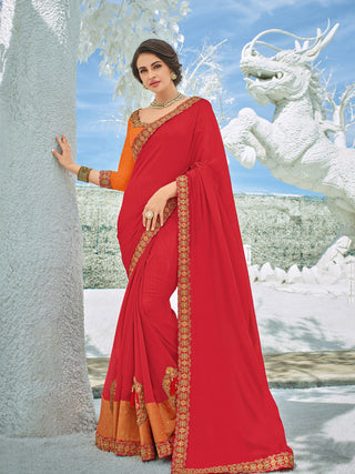 Red Silk Party Wear Saree With Orange Blouse