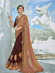 Gold  Maroon Georgette Party Wear Saree With Maroon Blouse