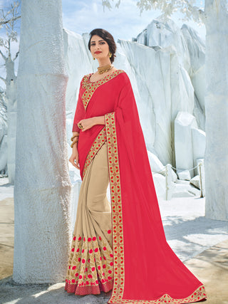 Red  Beige Silk Party Wear Saree With Red Blouse