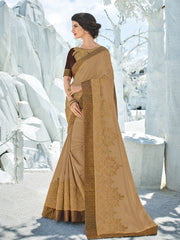 Gold Silk Party Wear Saree With Dark Brown Blouse
