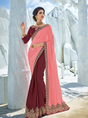 Peach  Maroon Georgette Party Wear Saree With Maroon Blouse