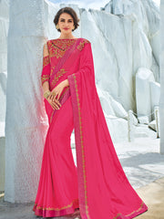 Pink Georgette Party Wear Saree With Pink Blouse