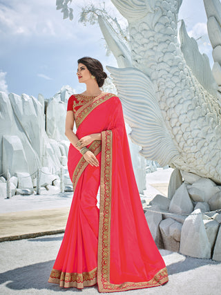 Tomato Red Silk Party Wear Saree With Red Blouse