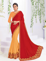 Red Yellow Georgette Party Wear Saree With Blouse