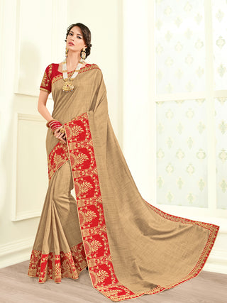 Beige Georgette Saree With Red Blouse