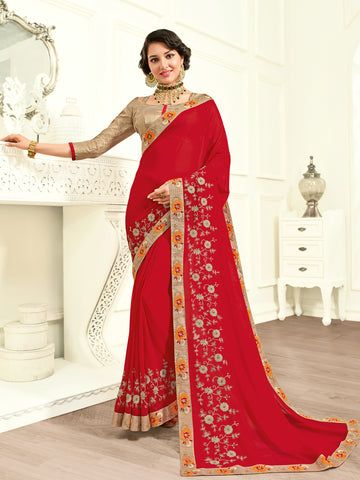 Red Cotton Silk Saree With Beige Blouse