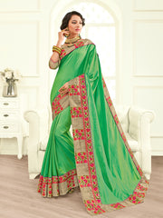 Green Chiffon Saree With Brown Blouse