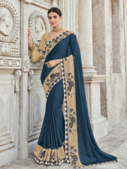 Blue Georgette Party Wear Saree With Golden Blouse