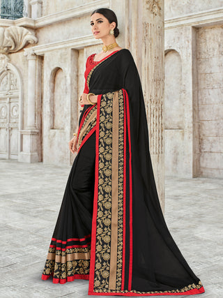 Black Georgette Party Wear Saree With Red Blouse