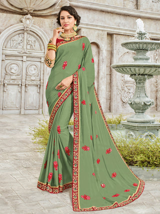 Light Green Georgette Party Wear Saree With Red Blouse
