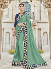 Sea Green Georgette Party Wear Saree With Violet Blouse