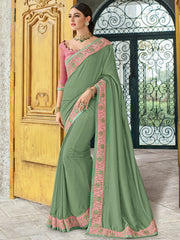 Sea Green Silk Party Wear Saree With Pink Blouse