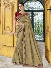 Beige Silk Party Wear Saree With Maroon Blouse