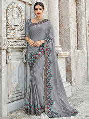 Grey Georgette Party Wear Saree With Grey Blouse