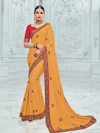 Yellow Chinnon Party Wear Saree With Red Blouse