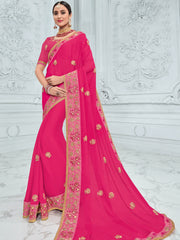 Pink Moss Chiffon Party Wear Saree With Pink Blouse