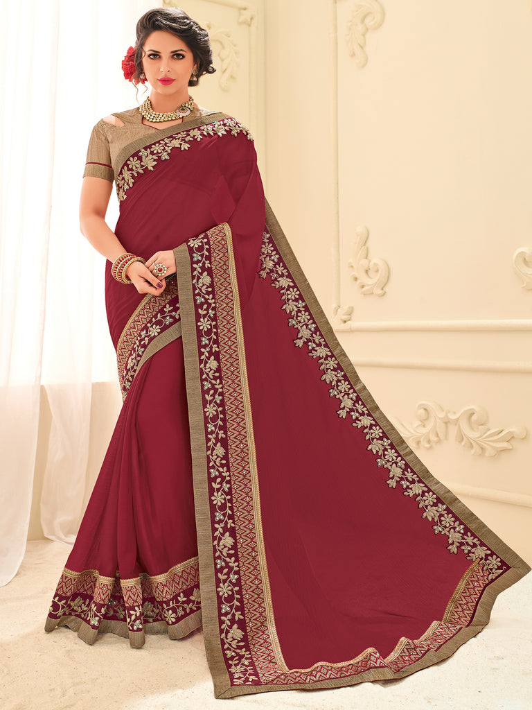 7d89a3f75099da Online Buy Red Silk Fabric Saree On Cash On Delivery – Banglewale.com