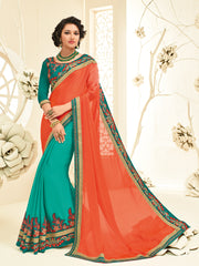 Orange & Green Georgette Saree With Green Blouse