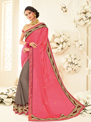 Pink & Brown Georgette Saree With Golden Blouse