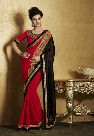 Designer red and black saree with heavy border and Designer yellow lycra embroidered saree for party Combo Offer