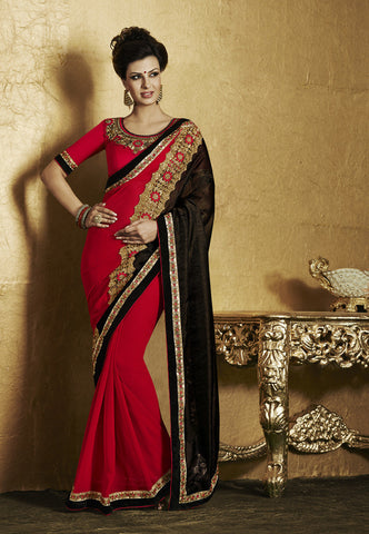 Saree Beige , Red,Lycra