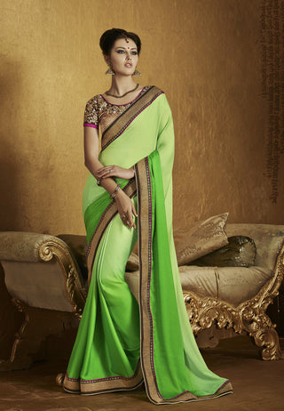 Designer Green and Golden saree with crepe for anniversaries and Designer yellow lycra embroidered saree for party Combo Offer