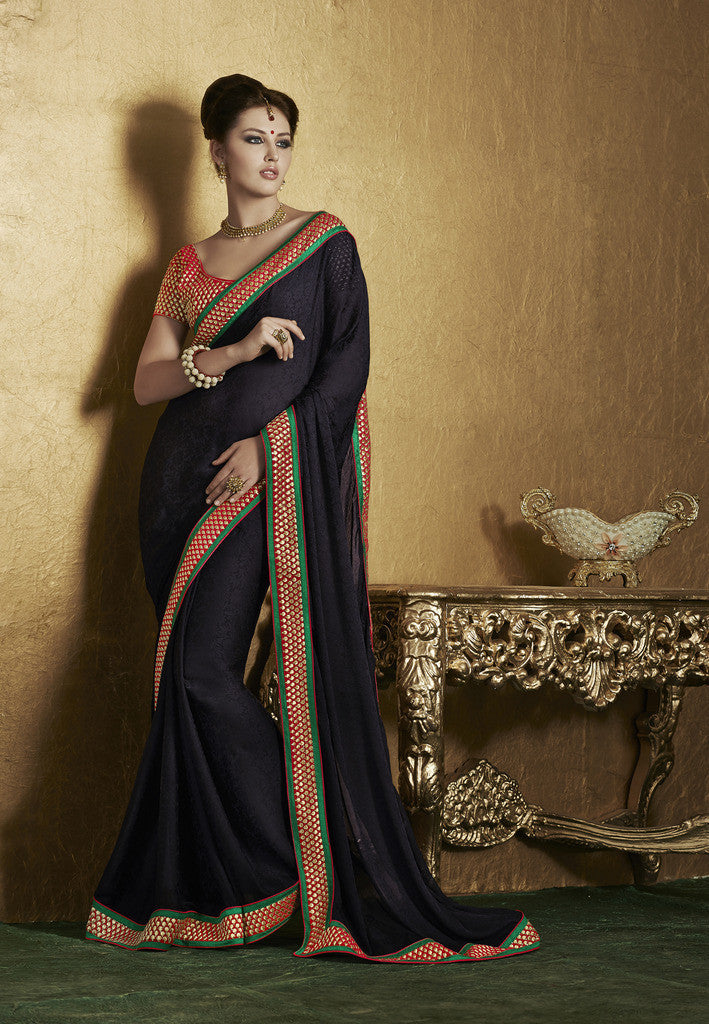 1ad0526d25 Pink and beige crepe silk sree · Designer crepe black saree with designer  blouse of red ...