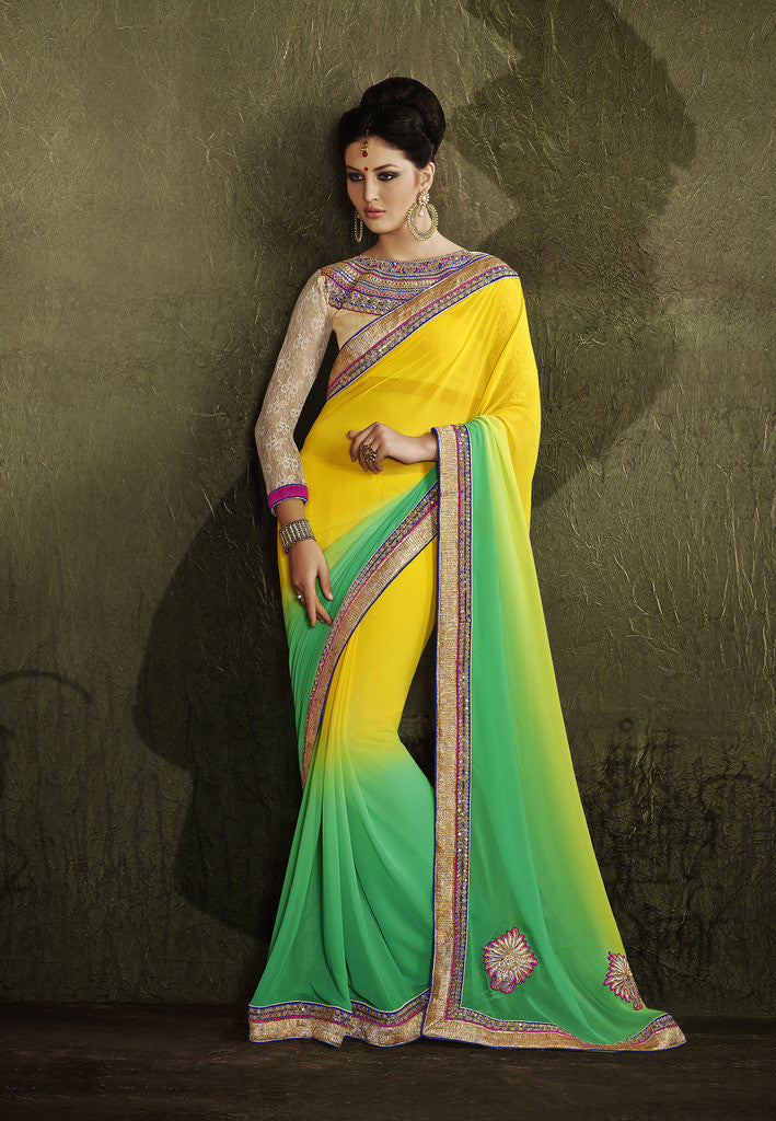 Home Shop Designer Yellow And Green Saree For Parties And Wedding And Home Shop Designer Jacquard Saree With Golden Blouse Combo Offer