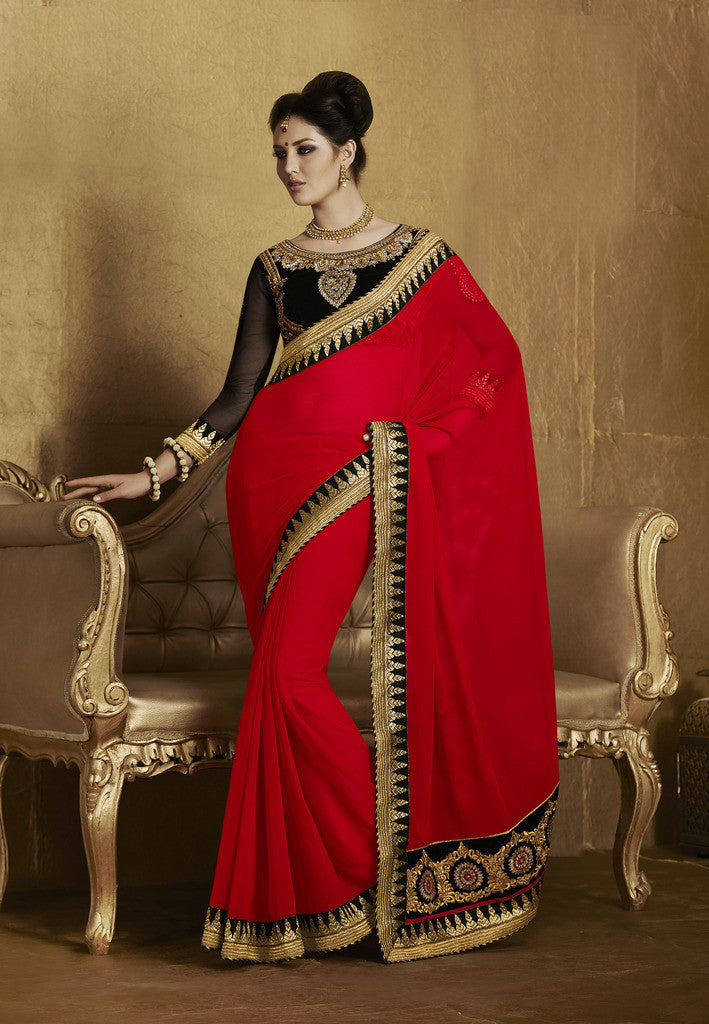 5a72b7f4dccf4 Designer Yellow Lycra saree with embroidery · Designer Red and Black party  wear georgette ...