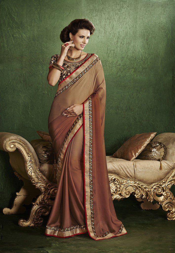 9150939491 Home Shop designer maroon and black saree for parties and Designer Satin Chiffon  Saree in Brown