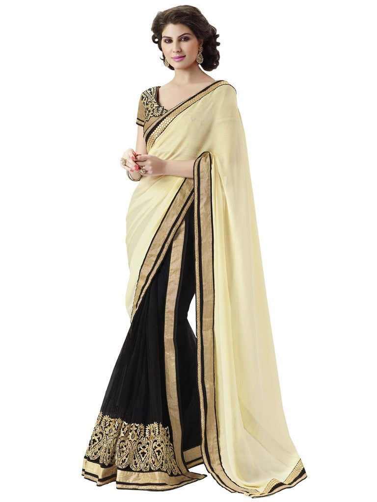 Designer Satin Chiffon Saree in Brown color for party and Designer Cream  and Black Sari with Golden Blouse Combo Offer