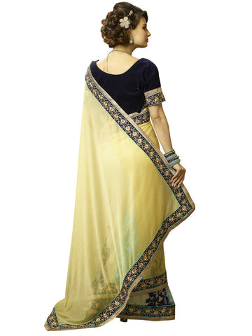 Designer Yellow Lycra saree with embroidery