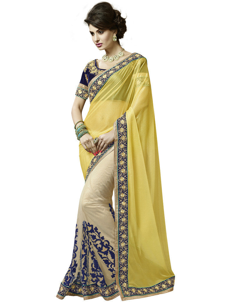 390de124d01ac Designer yellow lycra embroidered saree for party and Designer Golden Lycra  saree with heavy border for parties Combo Offer