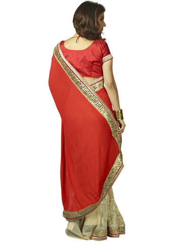 Designer red and beige chiffon saree for party and weddings