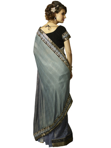 Designer grey and black saree for parties and event