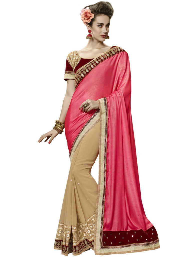 ff43a71620 Designer Party Wear jacquard light golden saree and Designer pink and beige crepe  silk saree with