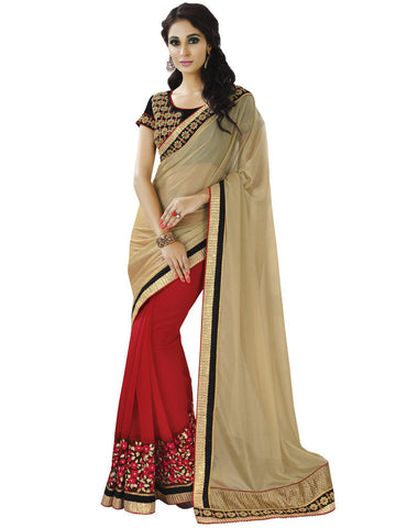 Designer red and beige saree in half half style and Designer Saree with Velvet Work Combo Offer