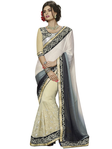 Fancy satin chiffon light gold saree with black color blouse and Off white Crepe Jacquard Saree Combo Offer