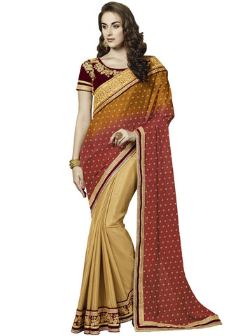 latest designer saree of crepe and jacquard in orange and beige and Multicolored Jacquard Saree Combo Offer