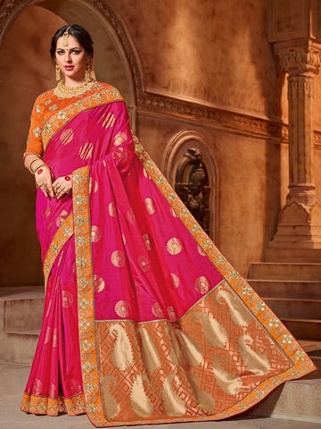 Pink Two Tone Silk Saree With Orange Blouse