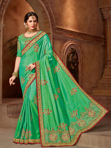 Green Two Tone Silk Saree With Green Blouse