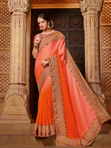 Orange Georgette Saree With Pink Blouse