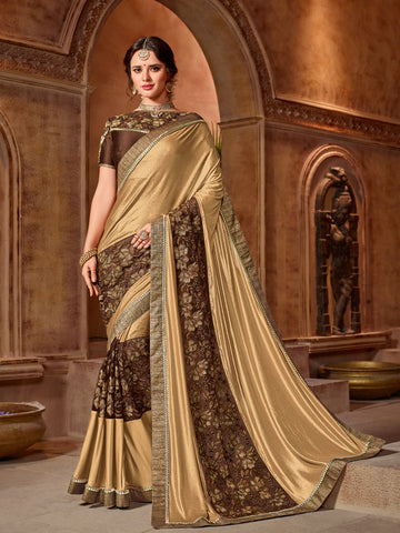 Gold & Brown Net Saree With Brown