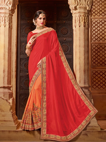 Red & Orange Net Saree With Red Blouse