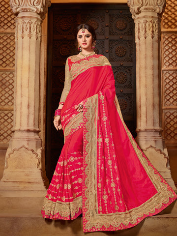 Red Two Tone Saree With Red Blouse