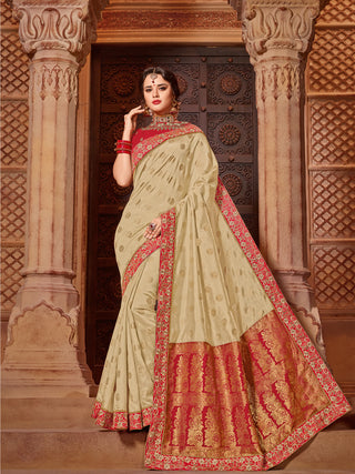 Beige & Gold Two Tone Jacquard With Red Blouse