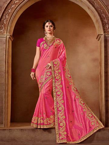 Pink Two Tone Viscose Saree With Pink Blouse