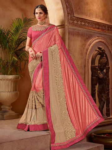 Pink & Beige Net Saree With Pink Blouse