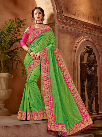 Green Two Tone Silk Saree With Pink Blouse